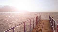 Way of life. panorama view. sunshine magic hour. water surface Stock Footage
