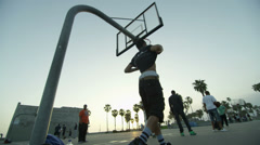 Basketball Court West Coast California Black Athletes Taking Break Sunset LA Stock Footage