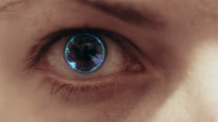 Woman's eye being scanned - stock footage