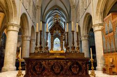 Altar of St. Michael and St. Gudula Cathedral - stock photo