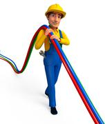 Plumber with wires - stock photo