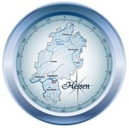 map of hesse as an overview map in blue - stock illustration