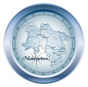 Map of lower saxony as an overview map in blue Stock Illustration