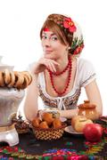 Hospitable russian woman Stock Photos