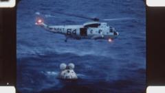 Sea King helicopter and Apollo 11 module.  (Vintage 1960's 16mm film footage). Stock Footage