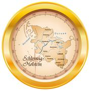 map of schleswig-holstein as an overview map in gold - stock illustration