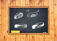 Pie charts and other infographics on chalkboard Kuvituskuvat