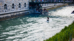 Jet Ski Making a Flip Stunt on Ljubljanica - stock footage