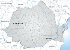 Map of romania with borders in gray Stock Illustration