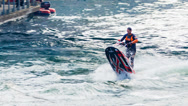 Stock Video Footage of Man Doing Awesome Jet Ski Stunt Close Up