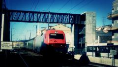 Red Train passing close Stock Footage