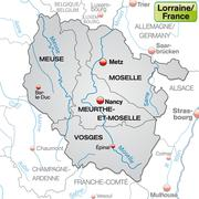 Map of lorraine with borders in gray Stock Illustration