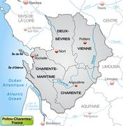 Map of poitou-charentes with borders in gray Stock Illustration