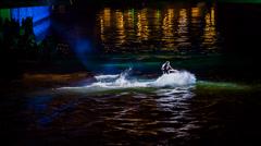 Jet Ski Amazing Stunts On River At Night Stock Footage