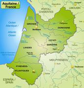 Stock Illustration of map of aquitaine with borders in green