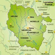 map of lorraine with borders in green - stock illustration