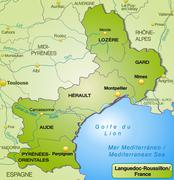 Stock Illustration of map of languedoc-roussillon with borders in green
