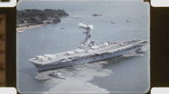 Aerial shot of USS Hornet.  (Vintage 1960's 16mm film footage). Stock Footage