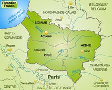 Stock Illustration of map of picardie with borders in green