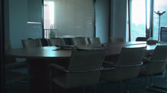 Stock Video Footage of Empty Conference Room, Office, Building, Business, Pan Shot