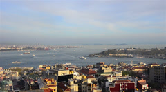 Bosporus,  Bosphorus panoramic & aerial  Istanbul marine traffic sunny Stock Footage