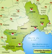 map of languedoc-roussillon with borders in green - stock illustration