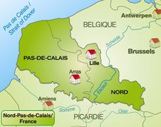Stock Illustration of map of north-pas-de-calais with borders in green