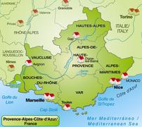 Map of provence-alpes-cote d azur with Stock Illustration