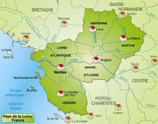 map of pays de la loire with borders in green - stock illustration