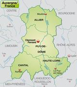 Map of auvergne with borders in pastel green Stock Illustration