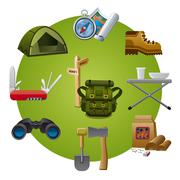 hike equipment icon - stock illustration