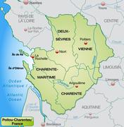 Map of poitou-charentes with borders in pastel green Stock Illustration