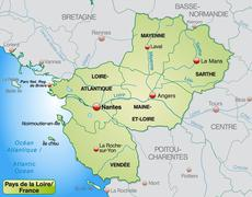 map of pays de la loire with borders in pastel green - stock illustration
