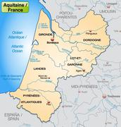 map of aquitaine with borders in pastel orange - stock illustration