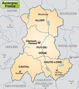 Stock Illustration of map of auvergne with borders in pastel orange