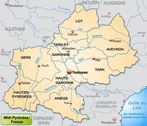 map of midi-pyrenees with borders in pastel orange - stock illustration