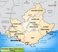 Map of provence-alpes-cote d azur Stock Illustration