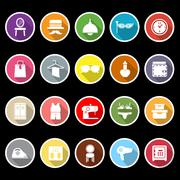 Dressing room icons with long shadow Stock Illustration