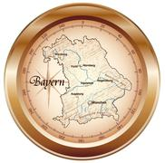 Stock Illustration of map of bavaria as an overview map in bronze