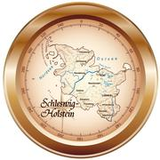 map of schleswig-holstein as an overview map in bronze - stock illustration