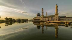 Beautiful Sunset At Kota Kinabalu City Mosque - stock footage