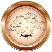 Map of switzerland as an overview map in bronze Piirros