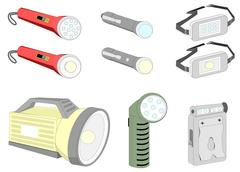 various kind of flash lights - stock illustration