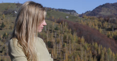 Ultra HD 4K UHD Closeup romantic woman relax admire mountain nature sunny day - stock footage