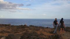 Elegant couple walking along the shore on ocean landscape Stock Footage