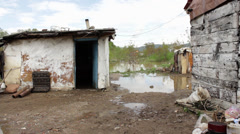 Serbia,2014. Environmental disaster. Destroyed household of poor gypsy family. - stock footage