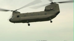 Boeing CH-47 Chinook Helicopter filed operations Stock Footage