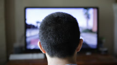 Close Up Teen Boy Playing Video Game Online TV Stock Video Stock Footage
