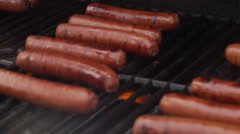Cooking Hotdogs on the Grill Stock Footage