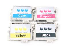 Cartridges for colour inkjet printer Stock Photos